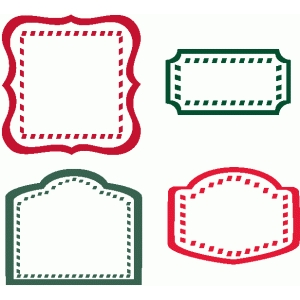 set of 4 candy cane labels