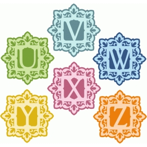 damask flourish monogram u-z