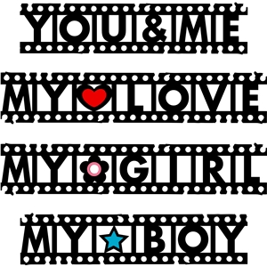 film strip words - love - boy - girl