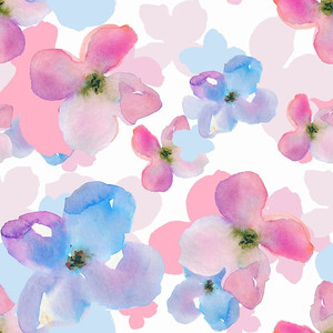 pink and teal watercolor flower pattern
