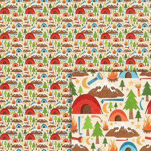 camping icons background paper
