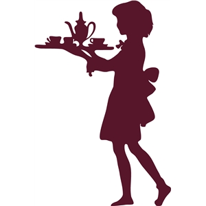 girl with tea tray