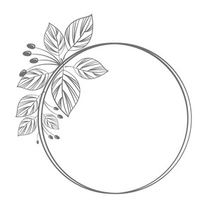 circle frame with leaves