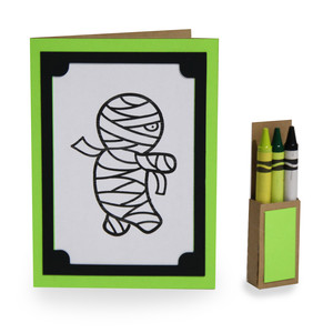 4 in. x 5.5 in. mummy coloring card and crayon box