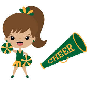 cheerleader and megaphone