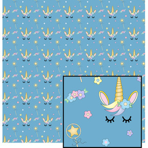 unicorn on blue pattern