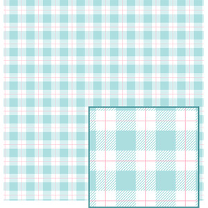 blue pastel buffalo plaid pattern