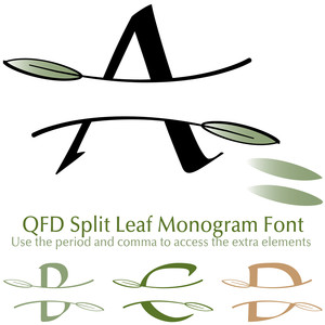 split leaf monogram font