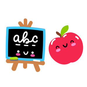kawaii apple and chalkboard