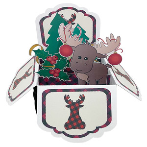 5x7 christmas moose pop up card in a box