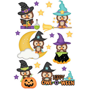 halloween witch owl stickers