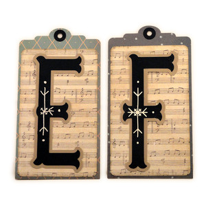 initial e f stitched pocket tag or card