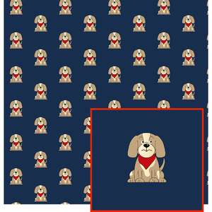 puppy on navy pattern