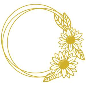 sunflower circle monogram frame