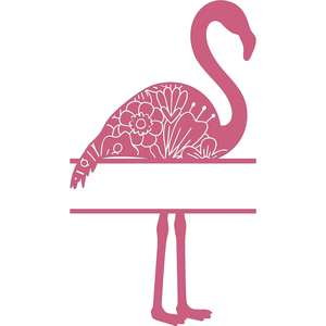 split floral flamingo