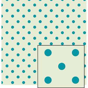 cream and blue larger polka dot pattern