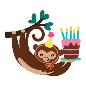 monkey with birthday cake