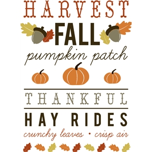 fall harvest print and cut