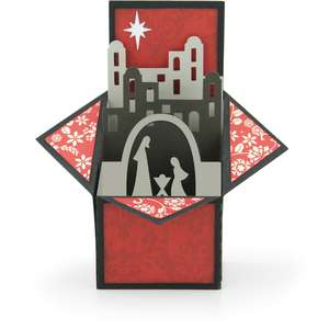 tiered box card nativity