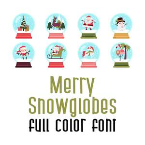 merry snowglobes full color font
