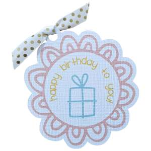 flower present birthday tag