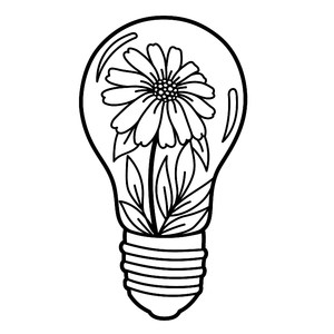 light bulb with a daisy flower