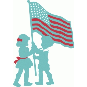 children with flag silhouette