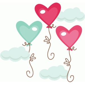 heart balloons in clouds