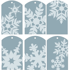 gift tags - snowflakes blue