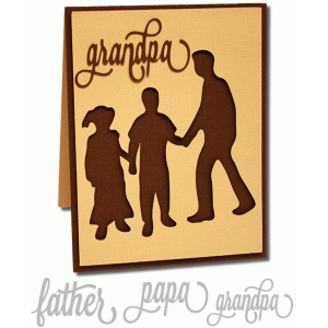 father and children silhouette a2 card