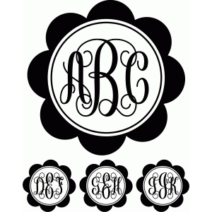 monogram script flower circle