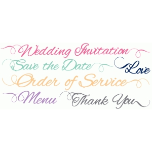 swirly wedding words set