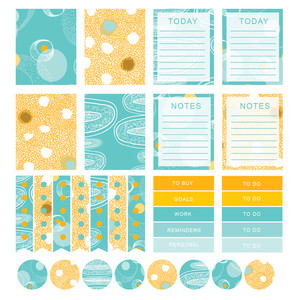 yellow and teal modern abstract planner stickers- eclp