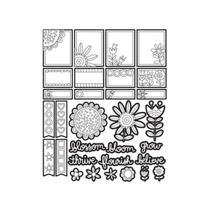 color me doodle flower stickers