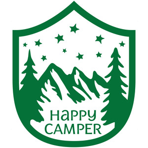happy camper badge