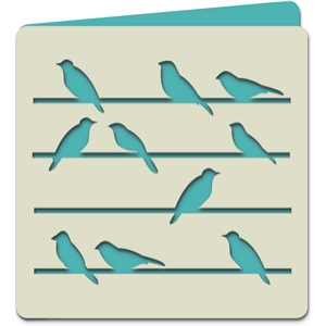 birds on wires square card