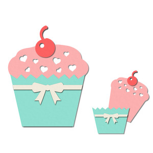 pocket / insert card - cherry cupcake