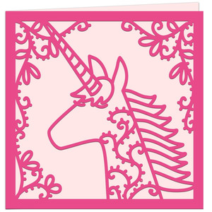unicorn papercut card