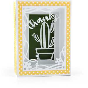 shadow box card cactus