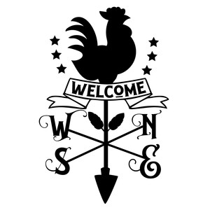 welcome rooster wind compass sign
