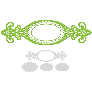 label scalloped oval ornate