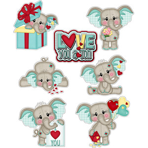 love you a ton elephant stickers / die cuts valentine / baby boy