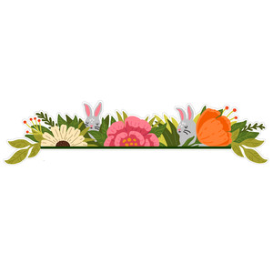 spring floral border with bunnies