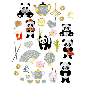 china and pandas planner stickers