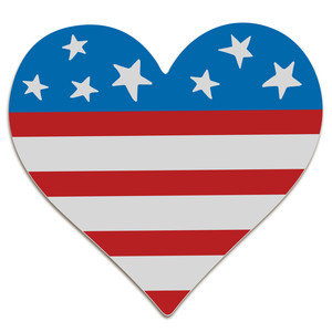 flag heart with stars