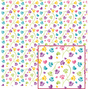paw print flowers pattern