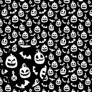 halloween pattern with jack-o-lanterns and bats
