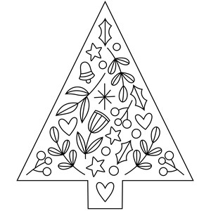 sketch folk art christmas tree