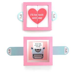 surprise window card valentine typewriter
