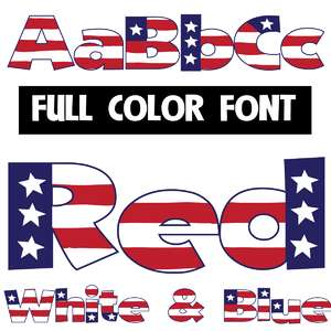 red, white, and blue color font